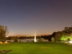 External evening shot with water feature