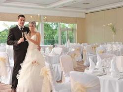 wedding set up with couple